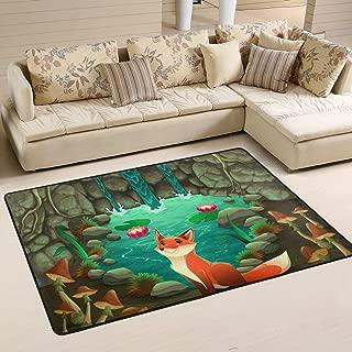 XiangHeFu Area Rugs Doormats Cartoon Happy Fox Home Woods Soft Carpet Mat 6'x4' (72x48 Inches) for Living Dining Dorm Room Bedroom Home Decorative