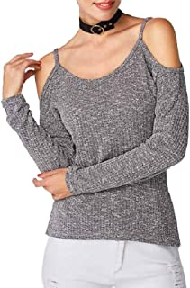 Jmwss QD Womens Cold Shoulder Loose Casual Knitted Sweater Tops T Shirt