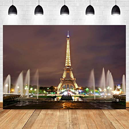 CdHBH 6x4ft Eiffel Tower Nightscape Backdrop Paris Top View Photography Background Fountain Indoor Decors Wallpaper Holiday Party Backdrop Children Kids Adults Portraits Photo Studio