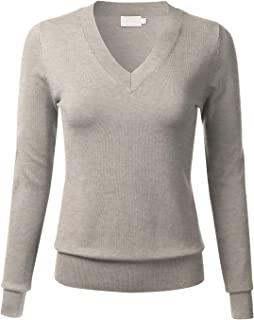 FLORIA Womens Soft Basic Thick V-Neck Pullover Long Sleeve Knit Sweater (S-XL)