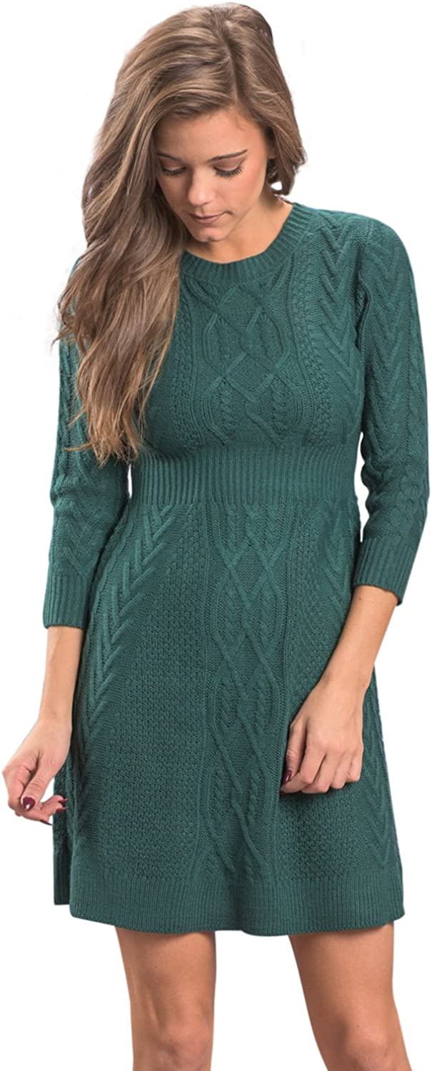 BaronHong Women's Sexy Knit Crew Neck 3 4 Sleeves Dress with Classic Pattern