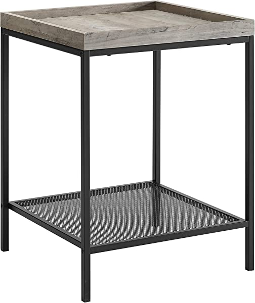 WE Furniture AZF18EMISTGW Rustic Square Side End Table With Storage For Living Room 18 Grey Wash