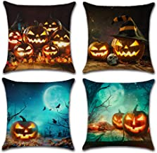 AKPOWER Happy Halloween Pillow Covers Cotton Linen Burlap Throw Pillows Decorative Pumpkin Square Cushion Cover 18 x 18 inches Set of 4