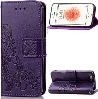 iPhone 5C Case,LEECOCO Embossed Lucky Clover Floral Design with Card Slots Magnetic Flip Stand Shockproof PU Leather Wallet Case for iPhone 5C with 1 x Stylus Pen Clover Purple