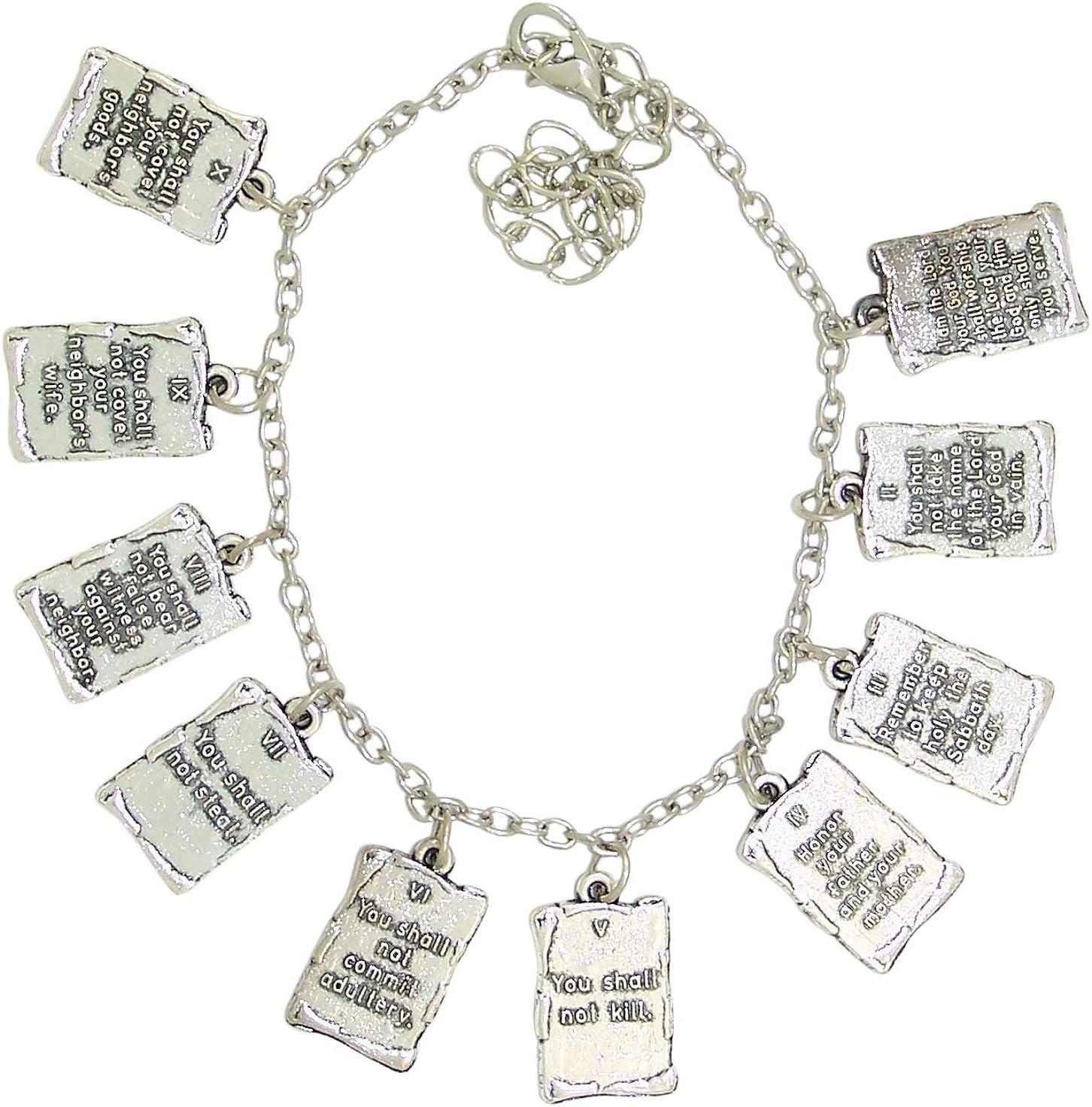 Silver Tone Ten Commandments Charm Quality inspection Bracelet Inch 2 7 1 Colorado Springs Mall
