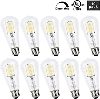 Mastery Mart Vintage LED Light Bulb, Clear Glass ST21 Antique Edison Bulb, Dimmable 5.5W (60W Equivalent), 500LM 5000K Daylight White, E26 Base Decorative Filament Bulbs, UL Listed, 10 Pack