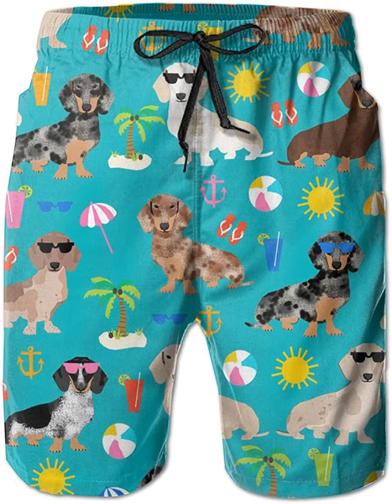 Dachshund Dog with Beautiful Floral Shorts Swim for Kid Quick Dry Stretch Board Core Swimming Tucks Dry Swimming Suits