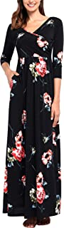 Comila Women's 3/4 Sleeves Floral Print Casual Loose Wrap V Neck Long Maxi Dress