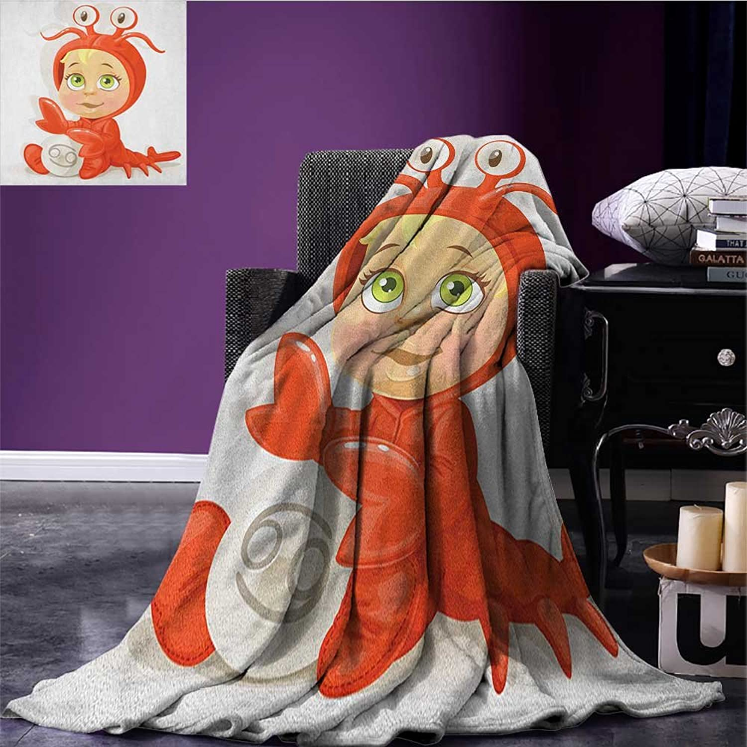 Astrology Survival Blanket Funny Baby Cancer Sign with Claws and Four Eyes Joy Kids Happiness on Stars Theme Print Space Blanket Red Size 59 x35.5