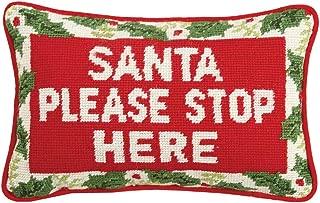 Peking Handicraft Santa Please Stop Here Needlepoint Pillow, 8X12
