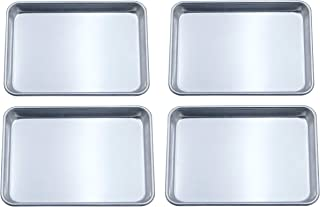 Checkered Chef Quarter Sheet Pan Four Pack - 4 Small Baking Sheets 9 ½ x 13 Inches. Aluminum Rimmed Cookie 1/4 Sheet Pans For Baking