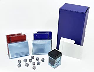 Double Deck Box Bundle   200-Card Deck Vault + Double Sleeves + Dividers with Dice (Blue+Red)