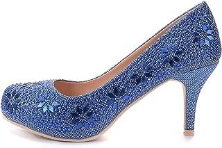 Mila Lady MAYRA06 Princess Sparkle Crystal Gem Rhinestone Glitter Formal Pumps, Wedding Shoes Evening Dress Heels for Women