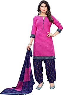 TreegoArt Fashion Women's Printed Design Unstitched Salwar Suit Dress Material With Dupatta -(Free Size) Pink