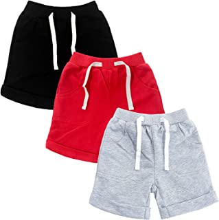 SOBOWO Baby Boys Girls Sport Shorts Summer 3-Pack Solid Cotton Jogger Active Shorts Casual Harem Pants 0-24 Months