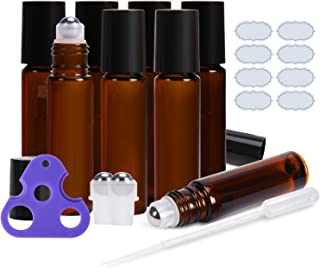 Roll on Bottles 10ml Amber Glass Empty Bottles 8 Piece ULG with Stainless Steel Roller Ball 2 Extra Balls 8 Piece Waterproof Labels 1 Opener and 3ml Dropper for Essential Oils