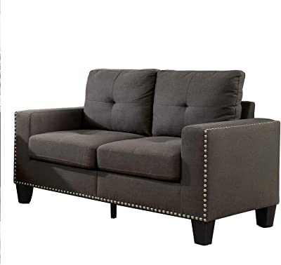 Benjara Modern Style Loveseat with Fabric Upholstery and Tufted Back, Gray