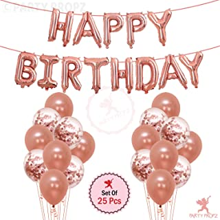 Party Propz 25Pcs Rose Gold Happy Birthday Foil Balloon, Confetti and Metallic Balloons Combo For Birthday Decoration Item...