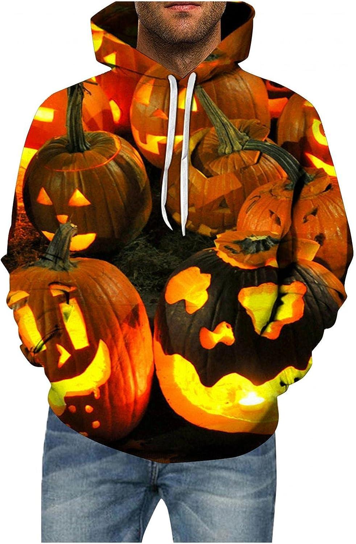 XUNFUN Novelty Hoodies for Men Plus Size Casual Halloween Pumpkin 3D Digital Print Graphic Sweatshirts Pullover Tops Pocket