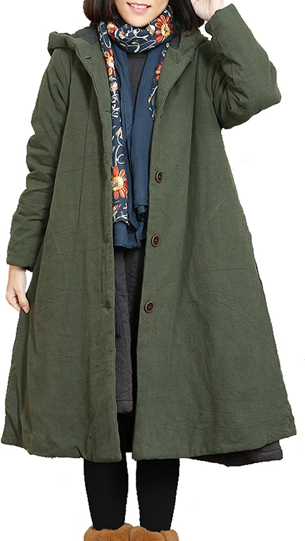 Fancy beautystyle Women's Winter Ethnic Hooded Cotton Coat Vintage Loose Linen Jacket
