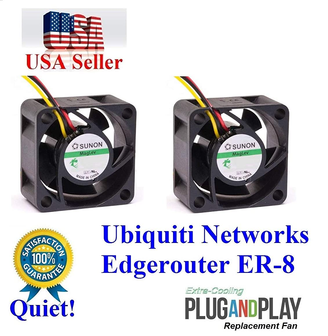 2X Quiet Version Fans for Ubiquiti UniFi EdgerRouter ER-8 only 13dBA Noise Each Fan, Best for Home Networking!