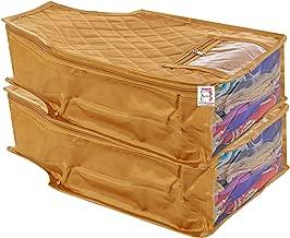 atorakushon® Satin Blouse Cover Clothes Storage Bag Wardrobe Garments Organiser Pack of 2 (Golden)
