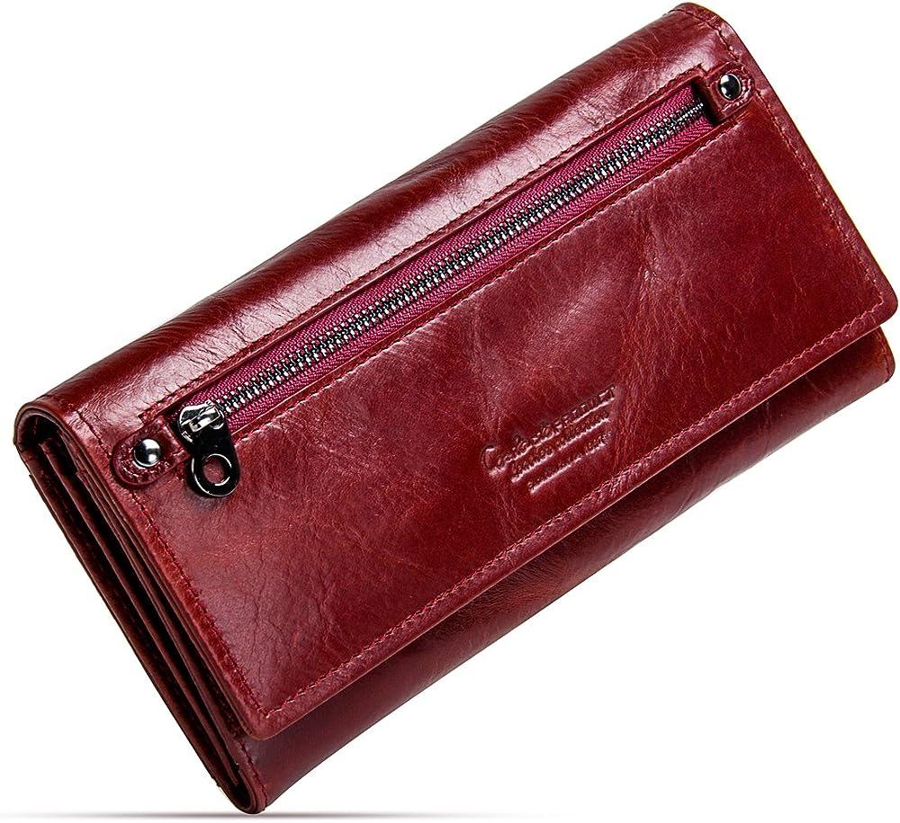 Contacts portafoglio porta carte di credito in pelle per donna 2.0