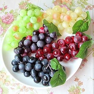 HANSHI Green Yellow Purple Black Artificial High Simulation Grapes, False Fruit Fake Grapes, Kitchen, Office and Photograp...