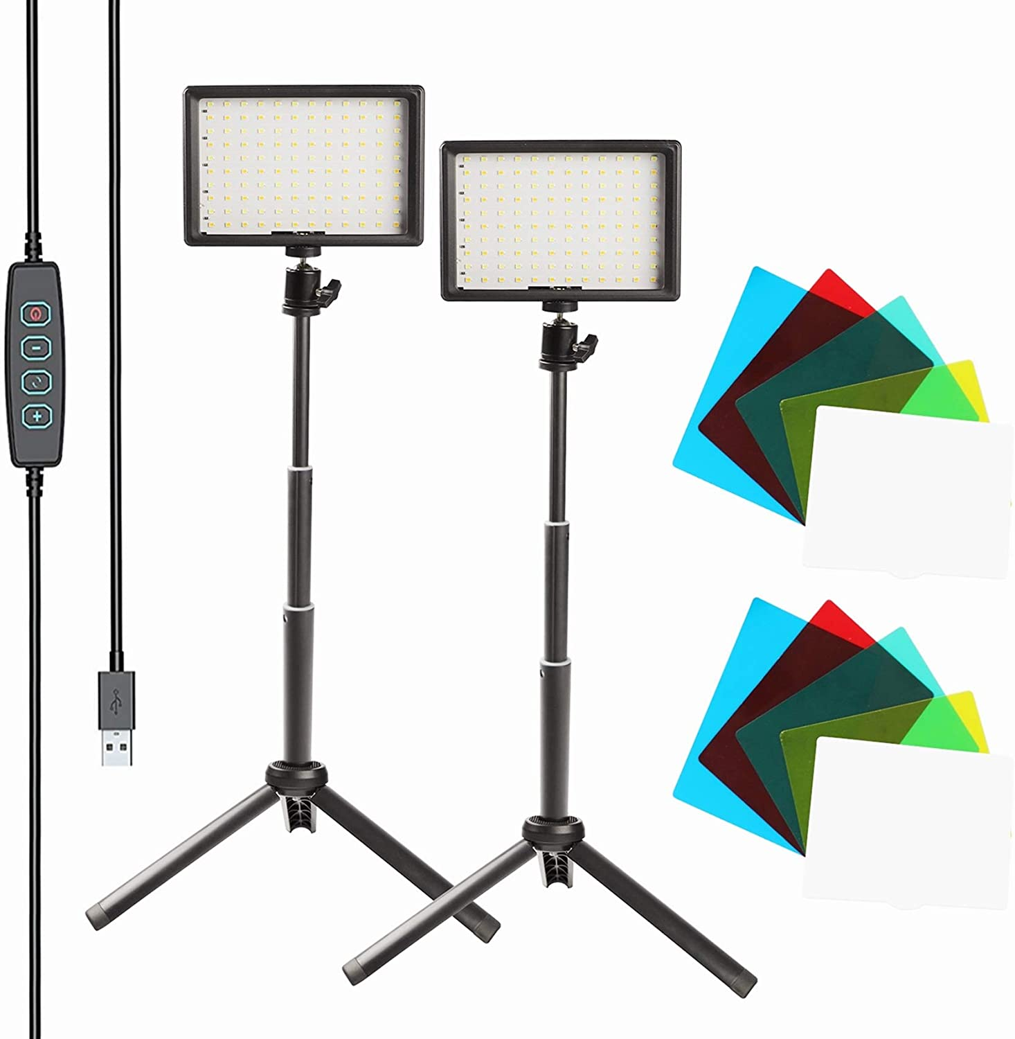 """KEAYEO 2-Pack 7"""" Portable Photography Video Light Kit Dimmable 5800K 120 Lamp Beads Super Bright LED Fill Light with Tripod Stand and 5 Color Filters for Meeting Table Top Photo Video Studio Shooting"""