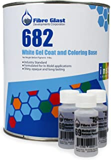 Fibre Glast RAL 9003 Color Gel Coat - Signal White - Gallon Kit - Professional Grade Gel Coat for High Gloss Surfaces - with MEKP Hardener