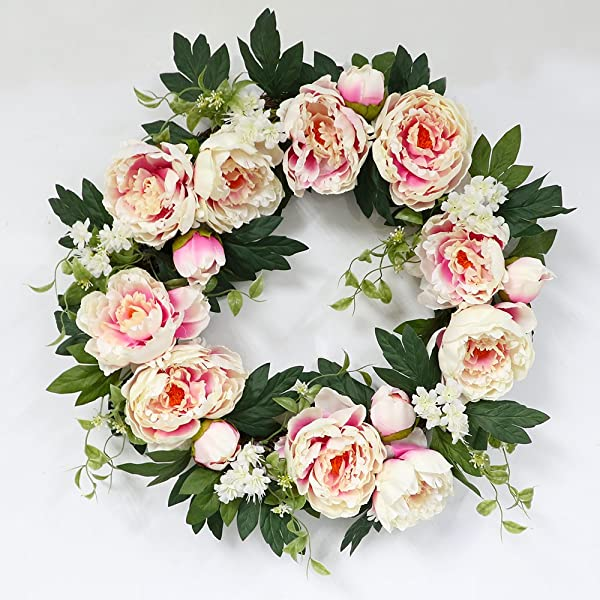 Puleo International 22 Inch Artificial Pink Peony Floral Spring Wreath