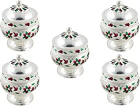 GoldGiftIdeas German Silver Sindoor Dabbi Set, Silver Plated Pooja Items for Home, Return Gift for Wedding and Housewarming with Designer Potli Bags (Pack of 5)