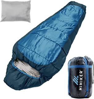 HiHiker Mummy Bag + Travel Pillow w/Compact Compression Sack - 4 Season Sleeping Bag for Adults & Kids - Lightweight Warm ...