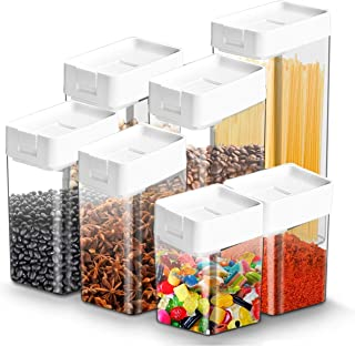 QQZQQ (7pcs) Boîte de Conservation Alimentaire Boîtes de Rangement Récipient de Stockage Plastique, for Rangement de Cuisi...