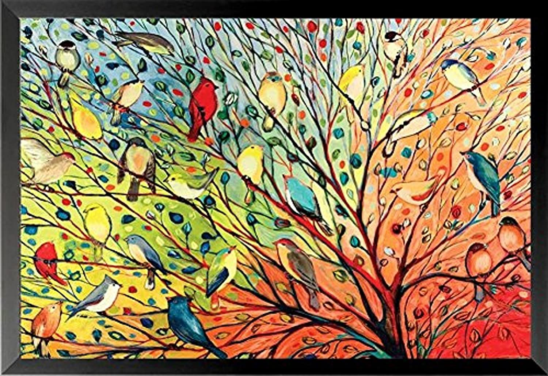 Buyartforless Framed Tree Birds by Jennifer Lommers colorful Art Print Posters 36  x 24