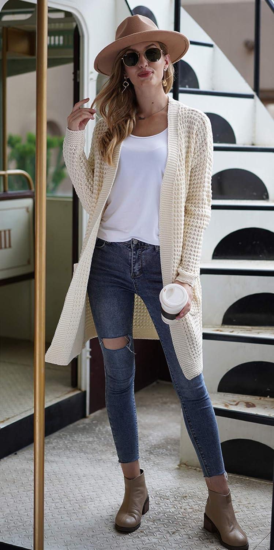 Damen Strickjacke Cardigan Lang Langarm V Ausschnitt mit Knopf Strickpullover Tops Outerwear Strickmantel lang A- Beige