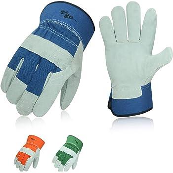 Vgo 3-Pairs Cow Split Leather Men's Work Gloves with Safety Cuff (Size XL, Blue&Orange&Green, CB3501)