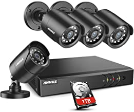 ANNKE 8CH H.264+Security Camera System with 4pcs 1080P 1920TVL Wired CCTV Cameras, IP66 Weatherproof for Indoor Outdoor us...