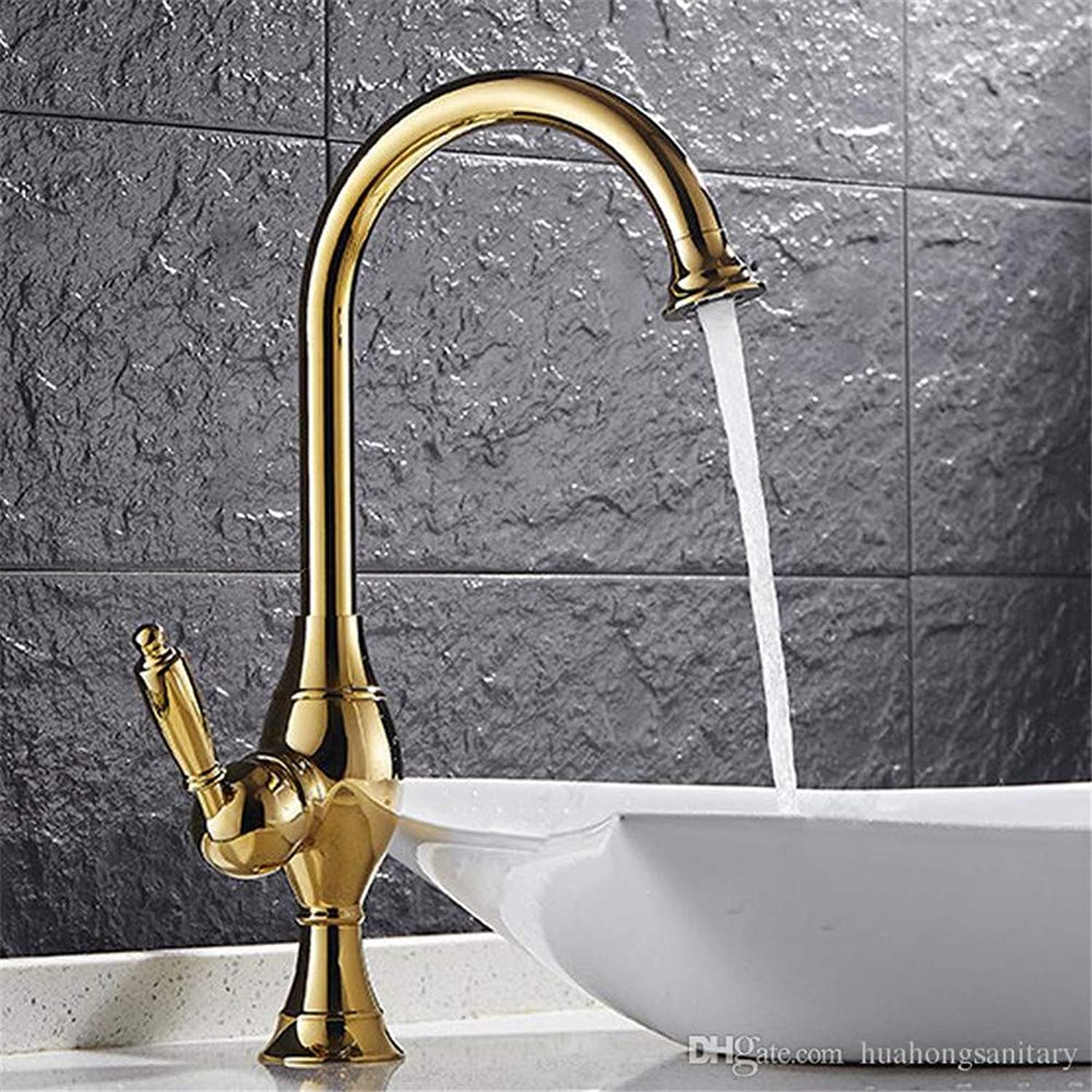 Decorry Wholesale and Retail gold Polished Single Lever Countertop Basin Sink Faucet 1 Handle Hole Mixer Tap Bathroom Hs413