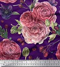 Soimoi Purple Velvet Fabric Berries & Pink Flower Floral Print Fabric by The Yard 58 Inch Wide