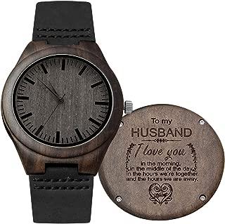 Engraved Custom Men Wood Watch,Analog Quartz Black Leather Handmade Sandalwood Natural Custom Wood Watch for Husband Anniversary Christmas Gifts