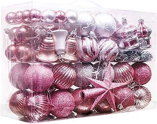 Valery Madelyn 100 Piezas Bolas de Navidad de 3-6cm, Adornos Navideños para Arbol, Decoración de Bolas de Navidad Inastillable Plástico de Rosa y Plata, Regalos de Colgantes de Navidad (Garapiñado)