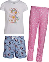 Limited Too Girls' 3-Piece Pajama Set with Tee, Matching Shorts, and Long Pants