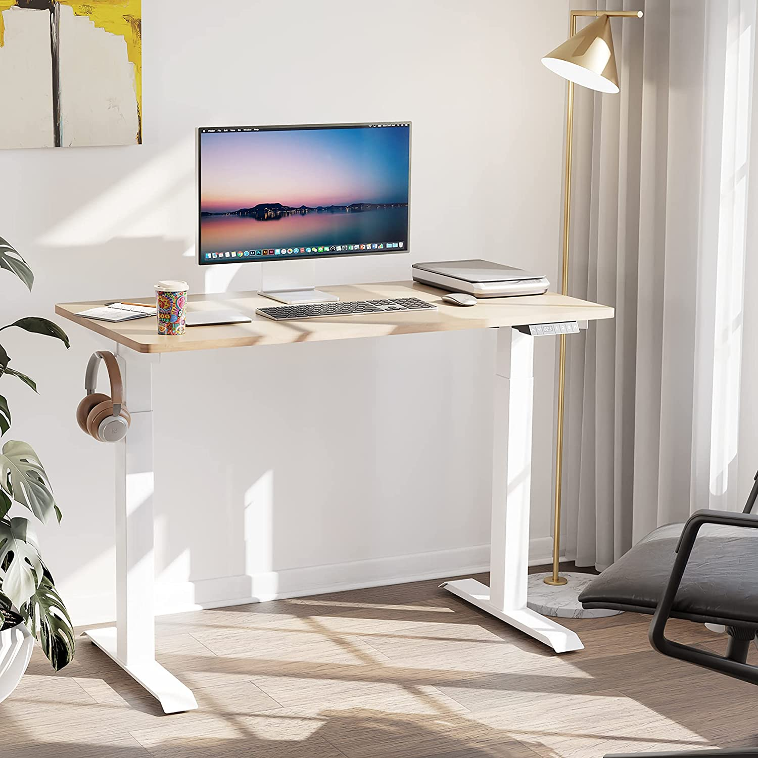 Walsunny Electric Height Adjustable Standing Desk, 48 x 24 Inches Splice Board, Sit Stand Up Computer Table with Memory Preset Controller for Home, Office, White Frame/Natural Top