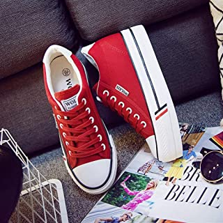 2019 Spring New 6cm Increased Canvas Shoes White Shoes with Thick-Soled Casual Student Shoes (Color : Red, Size : 36)