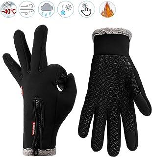 Guantes de Invierno Cálido Impermeable Pantalla Táctil a Prueba de Viento Antideslizante,para Bicicleta,Moto y Correr al Aire Libre Guantes Calientes,Unisex
