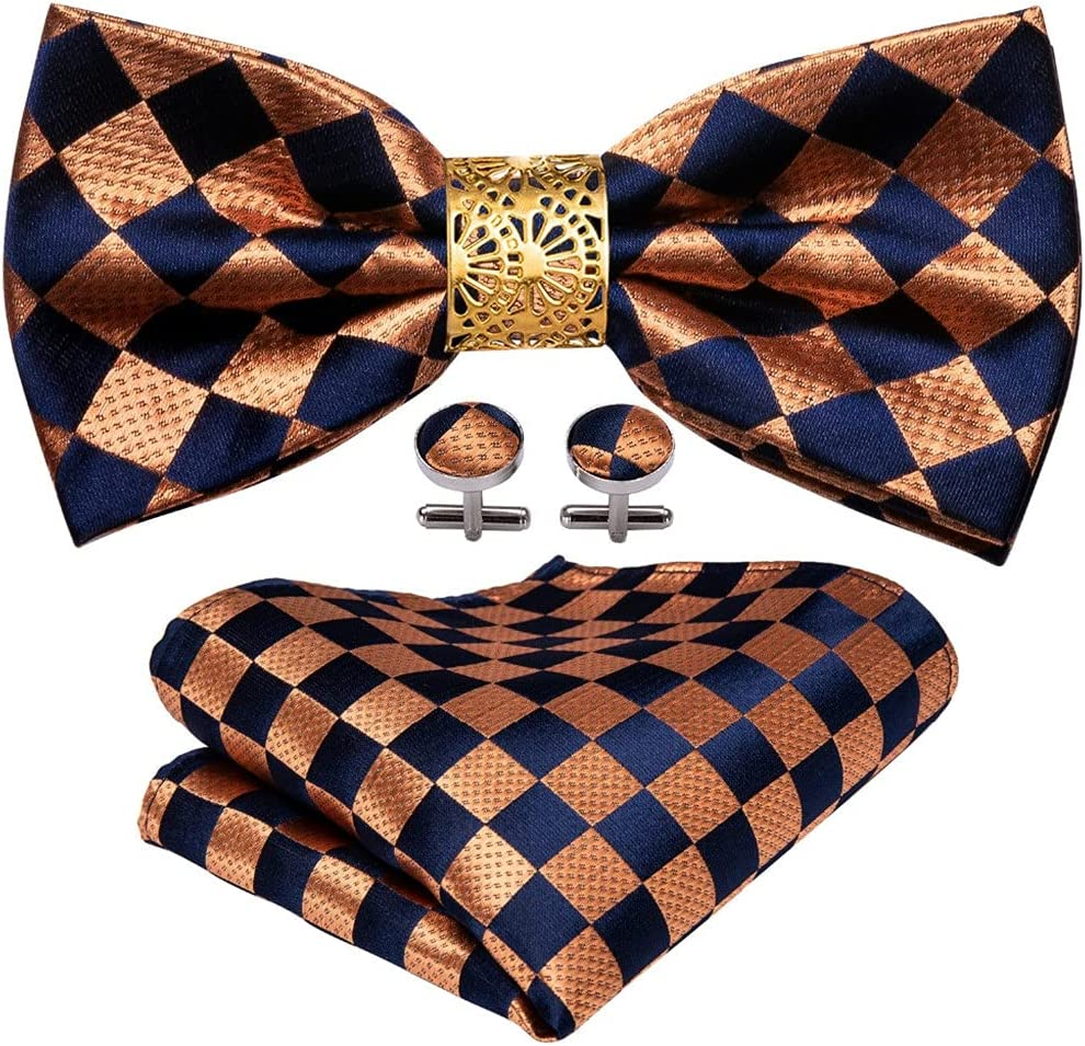 LQGSYT Gold Bow Tie for Men Wedding Accessorie Adjustable Butterfly Handky Removable Gold Ring Set (Color : Gold, Size : One Size)