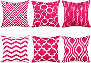 Topfinel Square Decorative Cushion Covers Soft Canvas Outdoor Throw Pillow Covers 18 X 18 for Sofa Bedroom, Set of 6, Pink