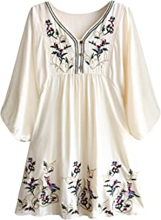 Women's Floral Embroidery Mexican Tunic Shirt Bohemian Flowy Shift Mini Blouse Top