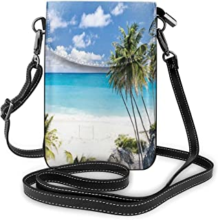 Women Small Cell Phone Purse Crossbody,Bottom Bay Barbados Beach Tropical Palms Ocean Holiday Paradise Coast Charm Picture